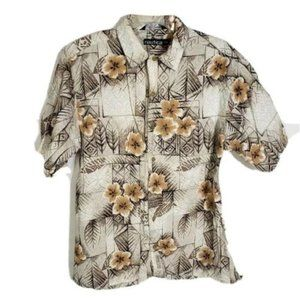 Nautica Shirt Hawaiian Floral Cotton Button Pocket